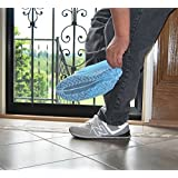 Halulu Pack of 100 Pcs Blue Nylon Disposable Medical Disposable Non-skid Shoe Covers - Great for Industrial & Home Use (100)