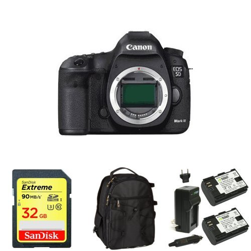 Canon EOS 5D Mark III 22.3 MP Full Frame CMOS with 1080p Full-HD Video Mode Digital SLR Camera (Body) + Memory Card, Bag and Battery