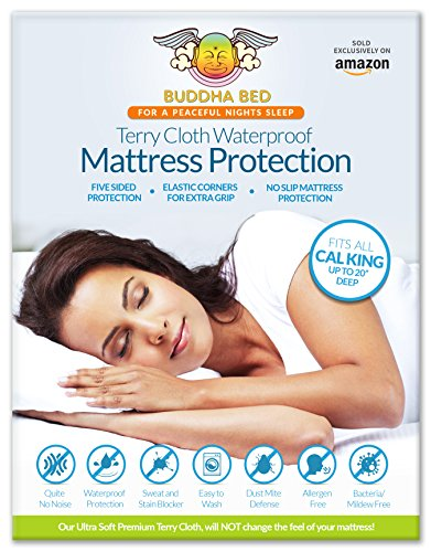 California King Mattress Protector. 100% Waterproof- Blocks Sweat, Stains, Urine. Protection from Bed Bugs, Mites and Fleas. Ultra Soft-Premium, 5 Sided Cotton Terry Cover. Fits On All Mattresses!