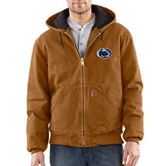 NCAA Penn State Nittany Lions Mens Quilted Flannel Lined Sandstone Active Jacket by Carhartt