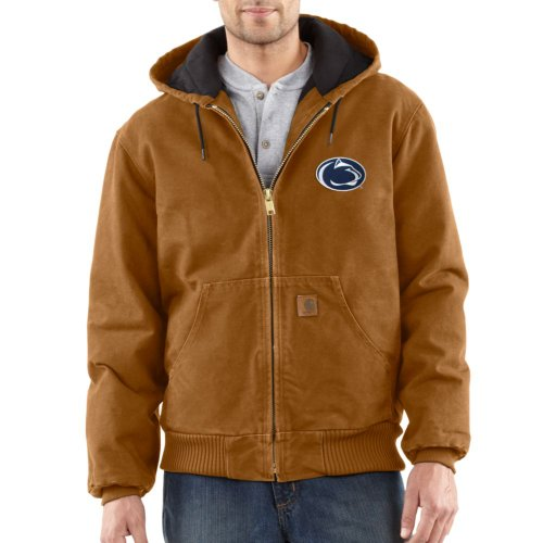 Ncaa Penn State Nittany Lions Men'S Quilted Flannel Lined Sandstone Active Jacket, Carhartt Brown, X-Large front-273205
