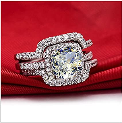1.00 Carat Vvs1 Engagement Nscd Diamond Ring Set in Platinum Over Silver (5.5)
