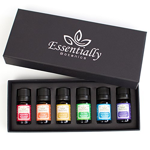Essentially Botanics Essential Oil Gift Set 100% Pure Undiluted Scented Aromatherapy Oils Includes Usage Guide Lavender Peppermint Eucalyptus Lemongrass Orange Tea Tree