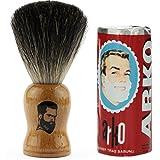 Rusty Bob - Afeitarse hecha de genuina pelo de tejón y jabón de afeitar Arko - hellbraun