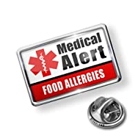 Pin Medical Alert Red Food Allergies - Lapel Badge - NEONBLOND from NEONBLOND