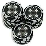 Sleeve of 25 World Poker Club $100 Black Poker Chips Clay 14gby Bullets Poker