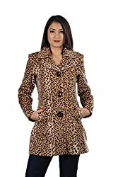 JAMES SCOT-Full Sleeves Animal Print Brown Colour Woolen Winter Wear Long Coat For Womens
