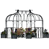 Metallpavillon Tiziano oval schwarz 400x260x340 cm Hohlmaterial PE-ummantelt
