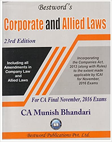 Corporate & Allied Laws for CA Final Nov. 2016