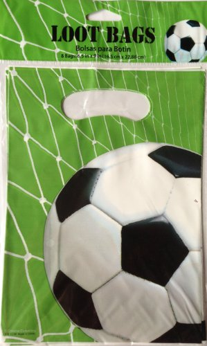 SOCCER FUN Favor Treat Loot Party Bags (8 Count)