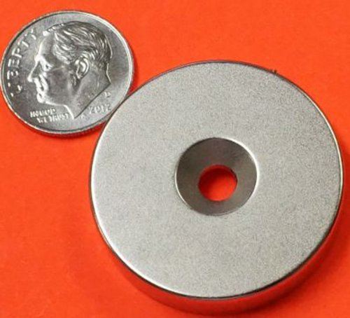 """Applied Magnets® 1 Piece 1.25"""" X 1/4"""" With Dual Sided Countersunk Hole Grade N42 Neodymium Disc Magnet"""