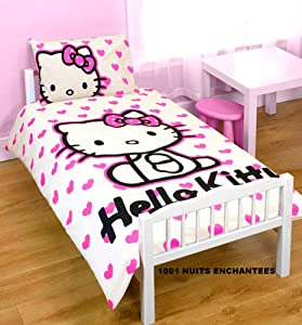 parure de lit b b housse de couette 120 x 150 cm taie hello kitty cuisine maison. Black Bedroom Furniture Sets. Home Design Ideas