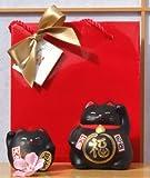 Gift Bag - 2 Lucky cats for black for protection - rounded & medium - waving Maneki Neko Feng Shui