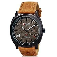 buy Curren Unisex Men'S Stylish Quartz Analog Watch With Leather Strap M