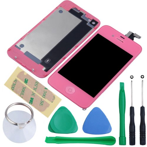 Generic Touch Screen Digitizer Glass With Flex Ribbon Cable & Lcd Display Assembly + Back Battery Cover + Home Button For Iphone 4 Gsm(At&T/T-Mobile Only, Not Fits For Cdma Verizon/Sprint) With Free Repair Opening Tools Kits (Pink)