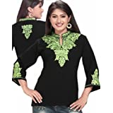 Mandiran Collar Neck Green Embroidered Tunic Top Dress