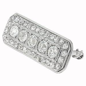 3.60 carat diamond unique Art-Deco platinum brooch