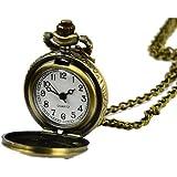 FINEJO Retro Vintage Bronze Steampunk Quartz Necklace Clock Pocket Watch Flor...