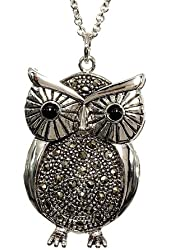 Large Silvertone Owl Pendant with Chain