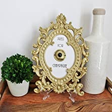 buy Press For Champagne ((Ringing Version)) | Oval Gold Home Decor Frame With Vintage Brass Push Button (Includes Wall Hanger And Stand)