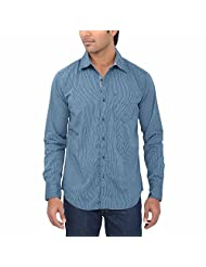 One Fuel Men's Blue Black Stripes Casual Slim Fit Shirt