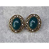 Western Big Retro Vintage Antique Jewelry Solitary Nail Earring Ear Clip Earrings Dangler (5] 27 x 24mm (Color: 5] 27 X 24mm)