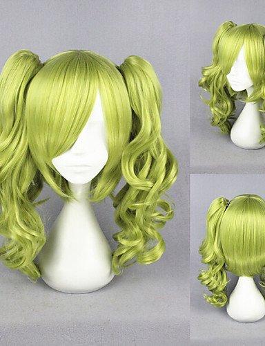YONG 16inch onde corte unlight-sherry lolita anime parrucca cosplay coda di cavallo verde