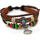 Valentine's Day, Mothers Day, Christmas, Birthday Lucky Handmade Wrap Leather Fashion Charm Bracelet Gift