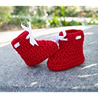 Crochet baby booties for new born baby - Red
