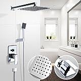Aquamarin - Ensemble complet douche à effet pluie - à fixation murale - tête de douche carrée, pommeau de douche, mélangeur et flexible
