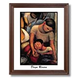 Diego Rivera Mother And Child Tuscan Home Decor Wall Picture Cherry Framed Art Print