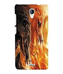 Fuson 3D Printed Dual Horse Designer Back Case Cover for Micromax Unite 2 A106 - D1068