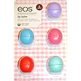 eos Organic Lip Balm, 5 Pack, Passion Fruit, Blueberry Acai, Strawberry Sorbet, Sumer Fruit, and Sweet Mint.