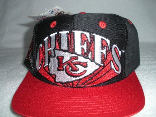 Kansas City Chiefs Vintage Burst Black Red Visor Chiefs in White Snapback Hat by Logo 7