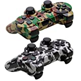 Accessory-experts Lot=2 Wireless Bluetooth Gamepad Controller for Sony Ps3 Camouflage Black+yellow