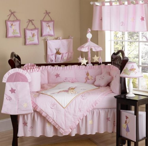 Fairy Tale Fairies Pink Baby Crib Nursery 9 pc. Infant Bedding Set
