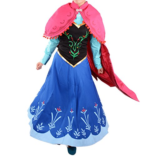 Frozen Halloween Women Adult Princess Anna Cosplay Party Blue Dress