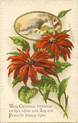 1910 Vintage Holiday Postcard - May Christmas Blessings on thee shine
