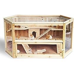 Woltu HT2007 Hamsterkäfig Nagerstall Kleintierkäfig, 3 Stöckige Mäusekäfig, Rattenkäfig mit Glas, Nagervilla