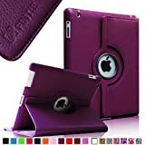 Fintie Apple iPad 2/3/4 Case - 360 Degree Rotating Stand Smart Case Cover for iPad with Retina Display (iPad 4th Generation), the new iPad 3 & iPad 2 (Automatic Wake/Sleep Feature) - Purple