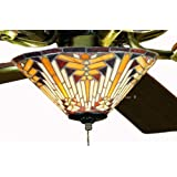 Tiffany Street 25038 Navajo Mission Stained Glass Ceiling Fan Kit