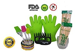 CoolKo 10 in 1 BBQ Grill Gift Set?2 Heat Resistant Meat Shredders?2 Heat Resistant Silicone BBQ Oven Gloves?3 Different Heat Resistant Silicone Pastry Brushes and 3 Special Bonus