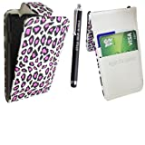 STYLEYOURMOBILE SONY XPERIA E C1505 PREMIUM QUALITY PU LEATHER MAGNETIC FLIP CASE SKIN COVER POUCH + SCREEN PROTECTOR + STYLUS (Pink Leopard Card Pocket)