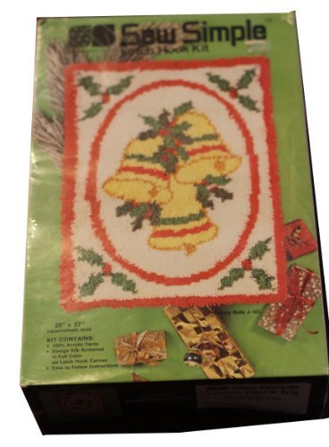Sew Simple Vintage 1982 Latch Hook Kit - Christmas Theme - Holiday Bells - Features 3 Gold Bells in a Red Border Adorned with Holly j101 by Sew Simple