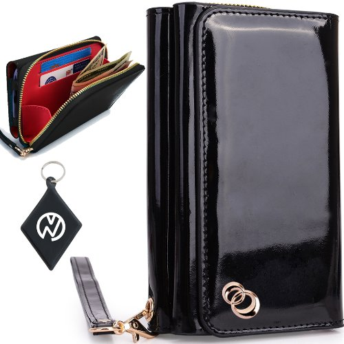Special Sale Apple iPhone 5S Women's Uptown Wristlet Wallet Clutch with Dual Compartment, Built-In Credit Card Slots and Internal Zipper Pocket. Includes one Detachable Wrist Strap. Color: Black Patent Leather + NuVur ™ Keychain (SUNIWMK1)