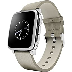 Pebble Time Steel Smartwatch for Apple/Android Devices - Silver (Certified Refurbished)
