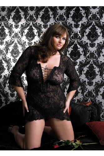 Sexy 2Pc Spanish Lace Mini Dress With Lace Up Front And Flair Sleeves With G-String Lingerie Set Leg Avenue By Fenvy Plus Size, Black