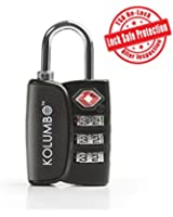 Kolumbo TSA Lock - Best Luggage Lock with Ultimate Anti Theft Power [Lock Safe Protection] + [Open Alert], Heavy Duty, Bonus Gift: How To Become A Smarter Traveler eBook - Lifetime Guarantee (Black)