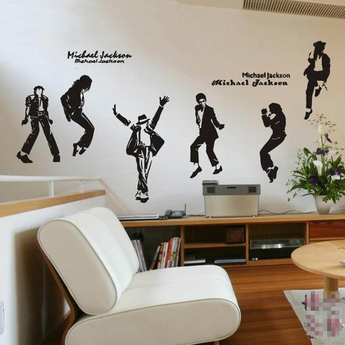 [Set of 4/6 Dacing Michael Jackson MJ Black Wall Sticker Decal Home Decor for Living Bed Room Study Bar Caf¨¦, Set of] (Michael Jackson Decorations)
