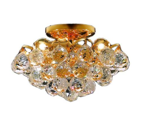 Elegant Lighting 2001F12G/Rc Godiva 7-Inch High 4-Light Flush Mount, Gold Finish With Crystal (Clear) Royal Cut Rc Crystal front-683792